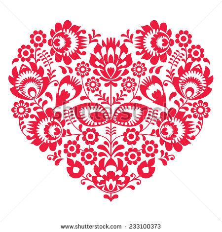 stock-vector--valentines-day-folk-art-red-heart-polish-pattern-wzory-lowickie-wycinanki-233100373